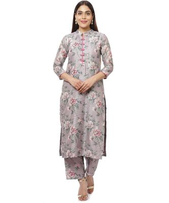 Pearl Purple Floral Thread Straight Kurti with Straight Palazzos