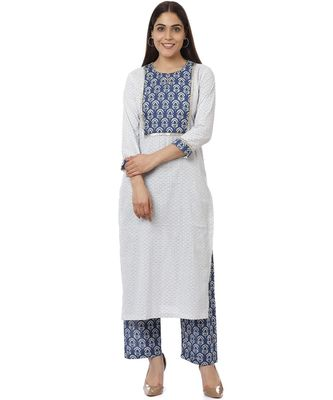 White Indigo Printed Gotta Kurti with Indigo Pants