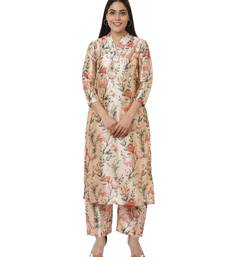 Peach Floral Silk Kurti with Peach Floral Palazzos