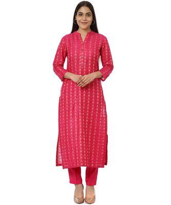Pink Weaved Kurti with Straight Pants