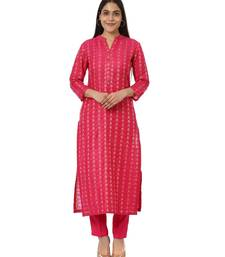 Pink Weaved Kurti with Straight Pants