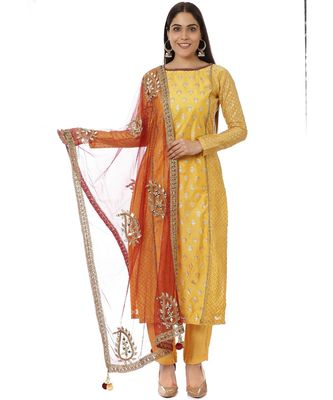 Yellow Printed Panelled Kurti with Yellow Pants and Mirror Paisley Dupatta