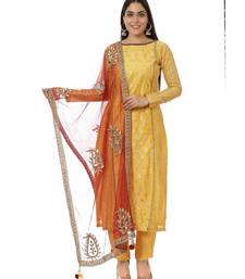 Yellow Printed Panelled Kurti with Yellow Pants and Mirror Paisley Dupatta