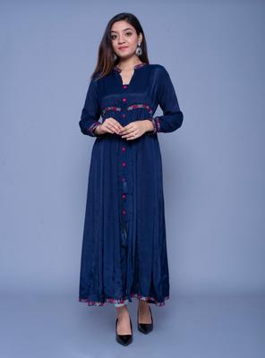 Navy-blue embroidered art silk kurtas-and-kurtis