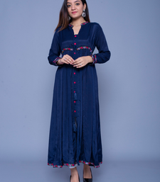 Navy-blue embroidered art silk kurtas-and-kurtis