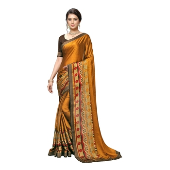 Mustard Printed Art Silk saree with blouse