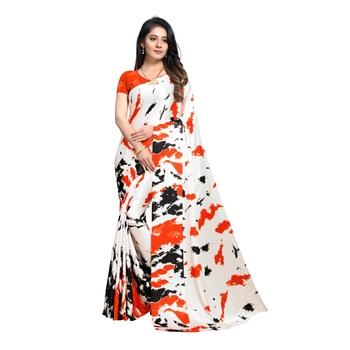 Orange Printed Crepe saree with blouse