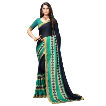blue Embroidered Crepe saree with blouse