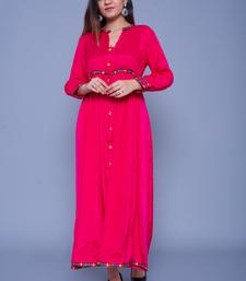 Rani-pink embroidered art silk kurtas-and-kurtis