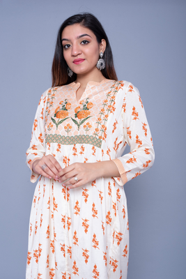Cream printed art silk kurtas-and-kurtis