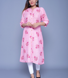 Light-pink printed rayon kurtas-and-kurtis