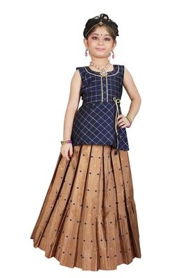 Kids Blue Top And Brown Lehenga Choli Set For Girls