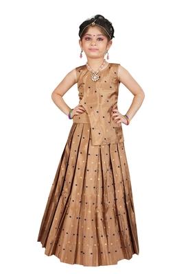 Girls Brown Cotton Silk Lehenga Choli