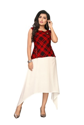 Color Block Checkred Rayon kurti