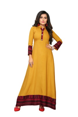 Latest Color Yellow Solid Rayon Gown