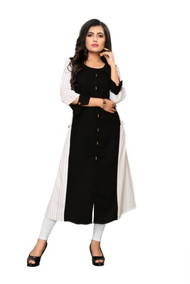 Black & White Striped Cotton kurti