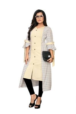 Cream plain cotton kurtis