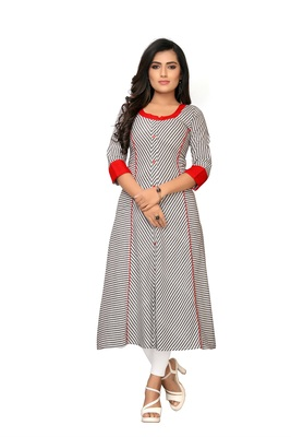 Grey plain cotton kurtis
