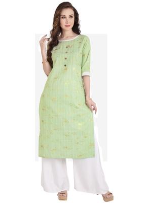 green plain Cotton kurtis