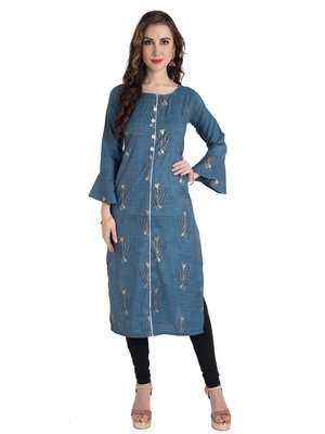 Turquoise plain Cotton kurtis