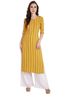 yellow plain Rayon kurtis