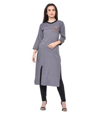 Grey plain Rayon kurtis