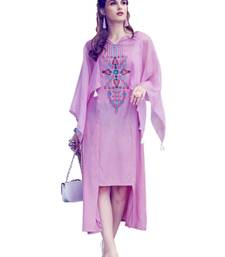 purple Embroidered art silk kurtis