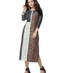 multicolor plain Linen kurtis