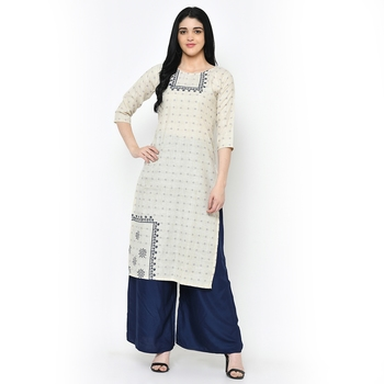 Cream   Cotton kurtis