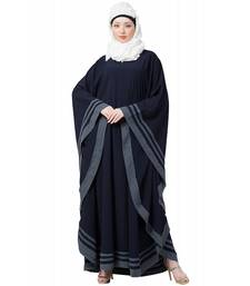 Creep Chiffon Fabric Navy Blue Kaftan Abaya Border Patti work with Hijab