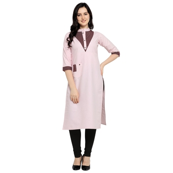 Pink plain cotton kurtas-and-kurtis