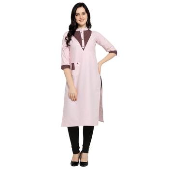 Pink plain cotton kurtas-and-kurtis