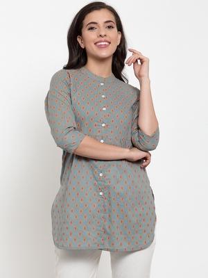 Indibelle Grey printed cotton cotton-tops