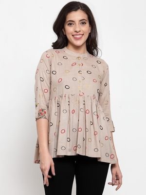 Beige printed viscose rayon cotton-tops