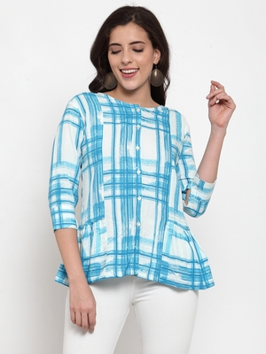 Indibelle Sky-blue printed viscose rayon cotton-tops