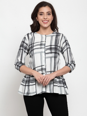 Black printed viscose rayon cotton-tops