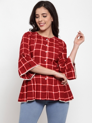 Indibelle Maroon printed viscose rayon cotton-tops