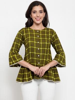 Indibelle Green printed viscose rayon cotton-tops