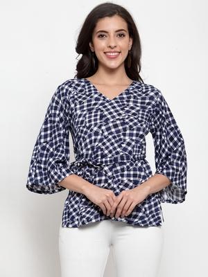 Indibelle Blue printed viscose rayon cotton-tops