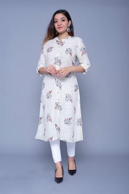 Off-white printed rayon kurtas-and-kurtis
