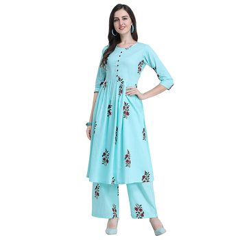 Fabholic Women's Cotton Readymade Kurta and Palazzo set