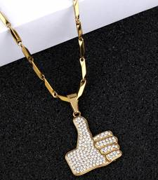 Gold Plated Adorable Classic Chain with Thumps Up Diamond Studded Pendant For Men and boy