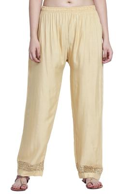 Gold plain rayon palazzo-pants