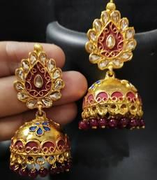 Red Blue Meenakari Golden Jhumki Earrings Set