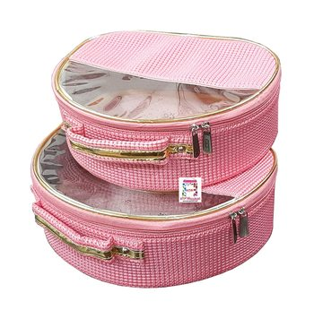 ATORAKUSHON ® FABRIC MULTIPURPOSE 32x25x10.5cm MAKEUP POUCHES JEWELLERY NECKLACE COSMETIC ORGANIZER SET OF 2 pink