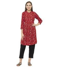Red printed polyester short-kurtis