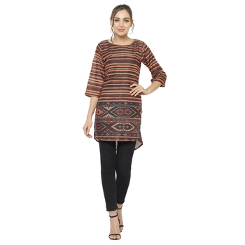 Brown printed dupion silk short-kurtis