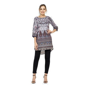Grey printed dupion silk short-kurtis