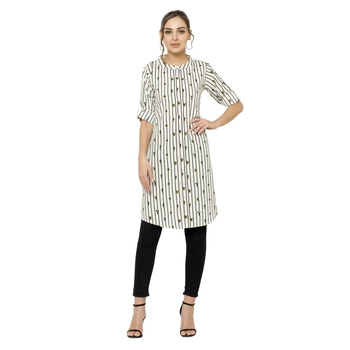 White printed crepe short-kurtis