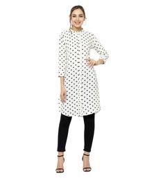 White printed polyester short-kurtis